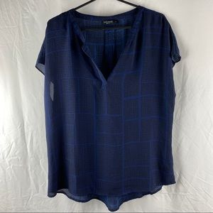Just Jeans Sleeveless Black & Blue Top Size 14